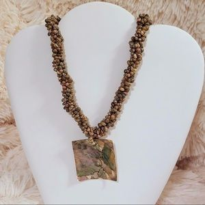 Vintage Faux Seashell Medallion Statement Necklace